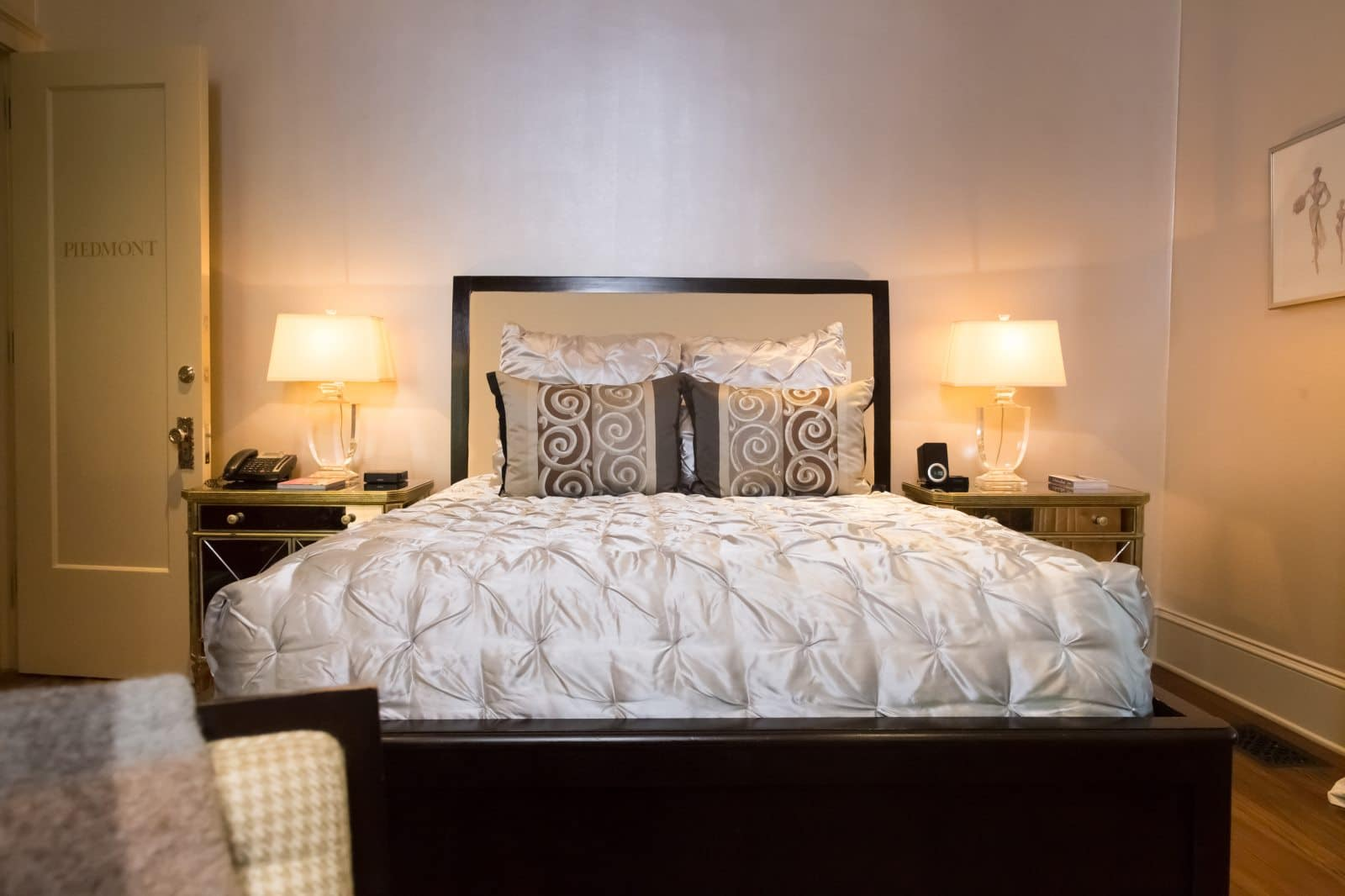 The bed in the Piedmont Room at Stonehurst Place