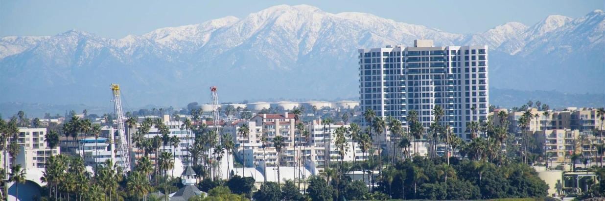 The skyline view of Long Beach, California