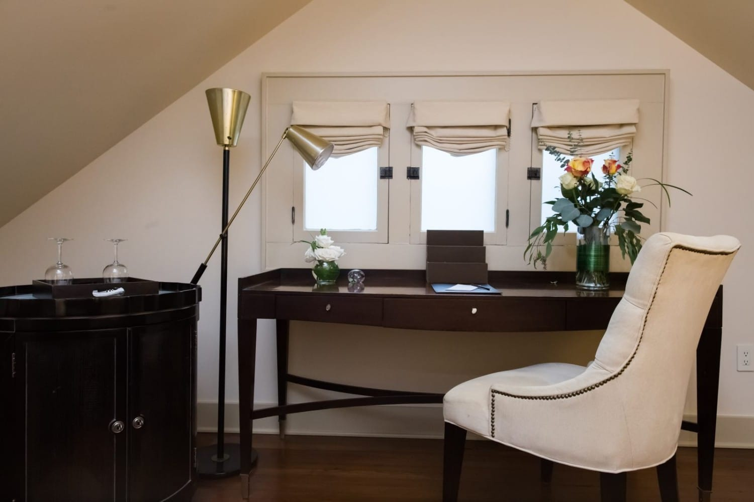 The executive desk inside the Gables Suite at Stonehurst Place