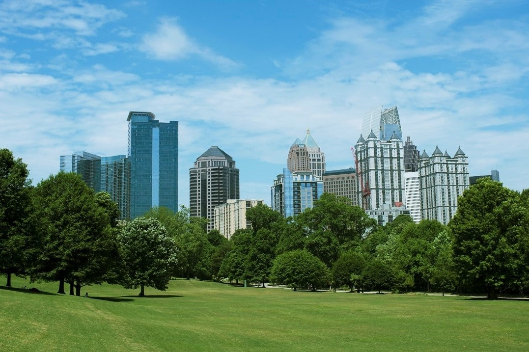 The view of the Midtown Atlanta skyline from Piedmont Park