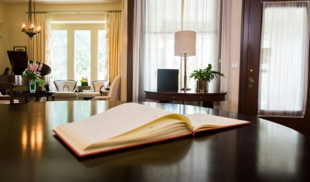 The guest book at Stonehurst Place