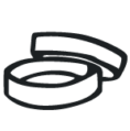 two black and white drawings of wedding bands