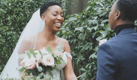 Brides smiling during first look