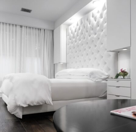 Stedman Suite white bed white room at Stonehurst Place